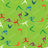 Seamless pattern Yoga poses icons Stock Images