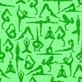 Seamless pattern of yoga poses Royalty Free Stock Image