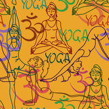 Seamless pattern of yoga poses Royalty Free Stock Images