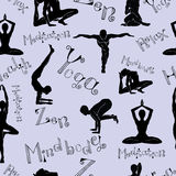 Seamless pattern with yoga poses Royalty Free Stock Photo