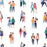 Seamless pattern with young couples on romantic date. Backdrop with men and women in love holding hands and walking stock illustration