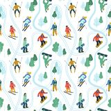Seamless pattern with young people at mountain resort. vector illustration