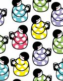 Seamless pattern with young woman and cup of milk. vector illustration