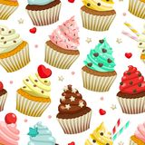 Seamless pattern of yummy colored cupcakes. Vector decorative background with different flavours and kinds Stock Photos