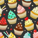 Seamless pattern of yummy colored cupcakes. Vector decorative background with different flavours and kinds Stock Photography