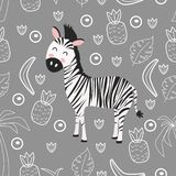 Seamless pattern with zebra - vector illustration, eps stock illustration