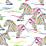 Seamless pattern of zebras. Seamless pattern of running colorful zebras Stock Photography