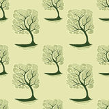 Seamless pattern  with Zen-tangle tree in green olive Stock Image