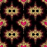 Seamless pattern  with Zentangle Hearts with flowers in Boho style gold red on black Stock Photography