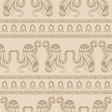 Seamless pattern with Zentangle octopus. Underwater life. A Wallpaper with marine animals. Seamless pattern background with Zentangle octopus. Underwater life Royalty Free Stock Photography