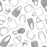 Seamless pattern zero waste bags for shopping vector illustration