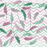 Seamless pattern with zigzag and feathers Royalty Free Stock Photo