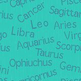 Seamless pattern with Zodiac sign inscriptions Royalty Free Stock Images