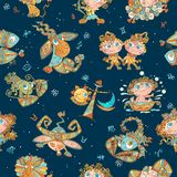 Seamless pattern with zodiac signs for kids. Vector. zodiac circles. vector illustration