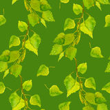 Seamless patterned background with birch spring leaves Stock Photo