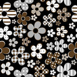 Seamless with patterned flowers over black background Royalty Free Stock Images