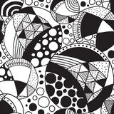 Pattern-13. Seamless patterned texture with abstract elements in black and white Royalty Free Stock Photos