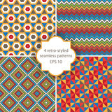 Seamless patterns. 4 bright geometry seamless patterns Vector Illustration