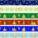 Seamless patterns 4. Abstract image of horoscope signs and church buildings. Seamless background Stock Image