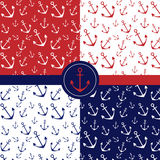 Seamless patterns with anchors. Four seamless pattern with anchors in three colors: blue red and white Stock Image