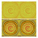 Seamless patterns with an ancient symbol of the sun. Vector Royalty Free Stock Images