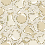 Seamless Patterns with apples and pears Stock Images