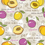 Seamless Patterns with apricot, plum and peach. Stock Images