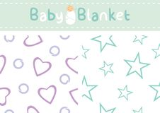 Seamless patterns for baby blanket design Stock Images