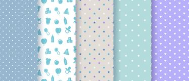 Seamless patterns for baby boy. Vector illustration. royalty free illustration