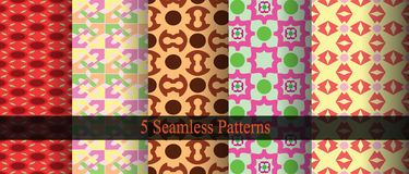 Seamless Patterns Background. 5 Seamless retros abstract background Royalty Free Stock Images