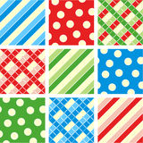 Seamless patterns (backgrounds). Easy tilable polka-dot (asymmetrical), checkered and striped seamless repeat patterns (prints, backgrounds, wallpapers, swatches stock illustration