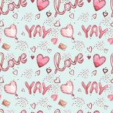 Seamless patterns with balloons. Pink Watercolor set of elements for Valentine`s day. Scrapbook design elements Stock Photos