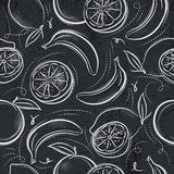 Seamless Patterns  with  bananas, oranges and lemons on grunge b Stock Image