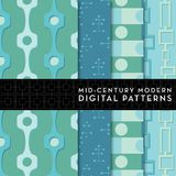 Seamless Mid-Century Modern Digital Pattern - Turquoise, Sea Glass Green Stock Images