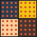 Seamless patterns with basketball balls Royalty Free Stock Photos