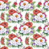 Seamless patterns with Beautiful flowers, watercolor illustration.  Stock Image