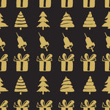 Seamless patterns bells, boxes and fir-trees Royalty Free Stock Photo