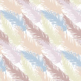 Seamless patterns of bird feathers. Hand drawn doodle vector illustration. Pastel colors Stock Photos