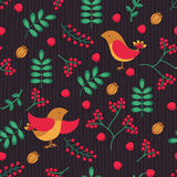Seamless  patterns with bird, leaves and berries. Hand drawn vector background Stock Photos