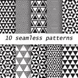10  seamless patterns. 10 black and white  vector seamless patterns. Endless texture can be used for wallpaper, pattern fills, web page background Stock Illustration
