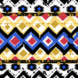 Seamless patterns with blue, black, gold, zigzag lines Stock Photo