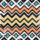 Seamless patterns with blue, black, gold, zigzag lines Royalty Free Stock Photo