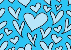 Seamless patterns with blue hearts, Love background, heart shape vector, valentines day, texture, cloth, wedding wallpaper,. Textiles, scrapbook, gift wrapping stock illustration