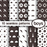10 seamless patterns for boys. Vector eps10 royalty free illustration