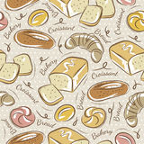 Seamless Patterns with breads Stock Photo