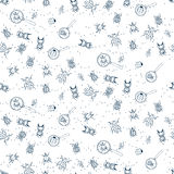 Seamless patterns with bugs and loupes. Little explorer. Royalty Free Stock Image