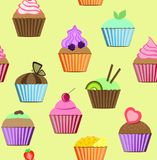 Seamless patterns cakes set vector illustration Stock Photo