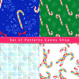 Seamless patterns with candy cane Stock Photography