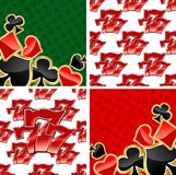 777 seamless patterns and card suits backgrounds. Jackpot seamless patterns and casino playing card suits backgrounds with repeated glossy red triple seven 777 stock illustration