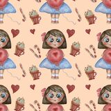 Seamless patterns. Childrens collection. Cute girl with a smile with, a balloon and Christmas caramel and dessert on a